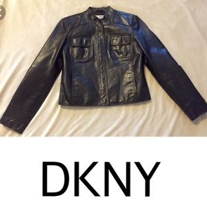DKNY leather blazer. EUC.